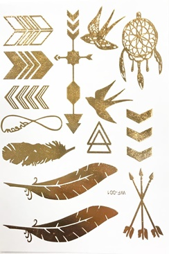 Metallic Jewelry Tattoos - Feathers