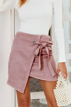 Pink Asymmetric Suede Skirt