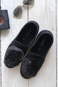 Pom Pom Shoes - Black