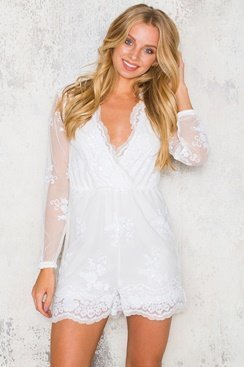Rising Sun Playsuit - White