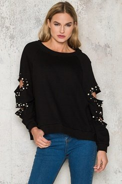 Ripped Pearl Sweater - Black