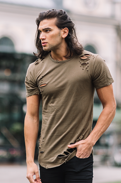 Ripped T-shirt - Army Green