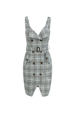 Grey plaid dress  - Evie