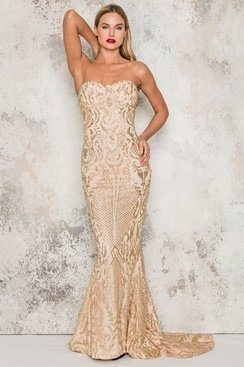 Shining Maxi Dress - Gold