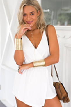 Simple Asymmetric Playsuit - White
