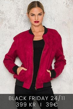 Suede Bomber Jacket - Wine Red