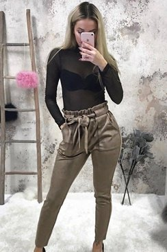 Suede Freya Pants - Brown
