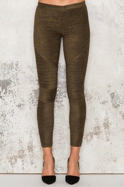 Suede Pants - Army Green