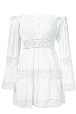 Vit off-shoulder klänning - Favorite