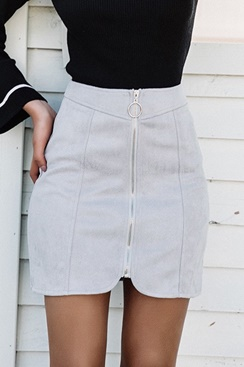 Zipper Suede Skirt - Grey
