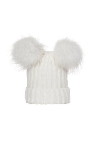 Knitted Pom Pom Hat - White