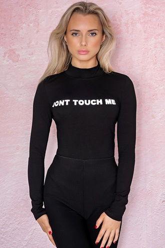 Bodysuit with reflective text - Don´t Touch Me