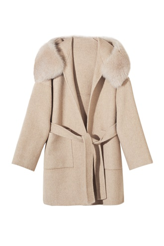 Creme virgin wool coat - Mango