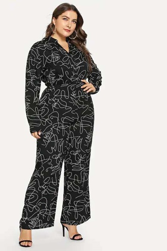 Black patterned jumpsuit - Kelly