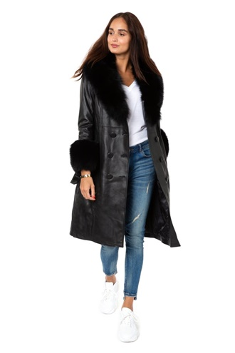 Fur-trimmed Leather Trench Coat - Matrix
