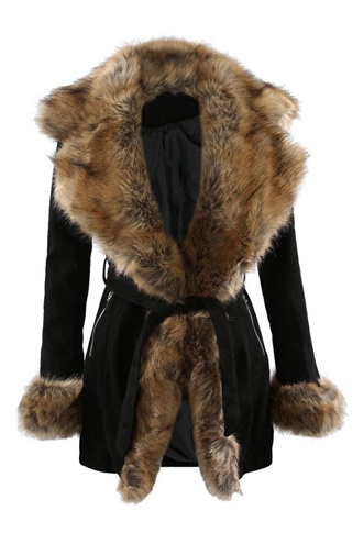 Dolce Fur Coat - Black/Brown