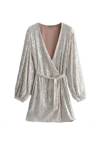 Exclusive sequin dress in silver - Evita