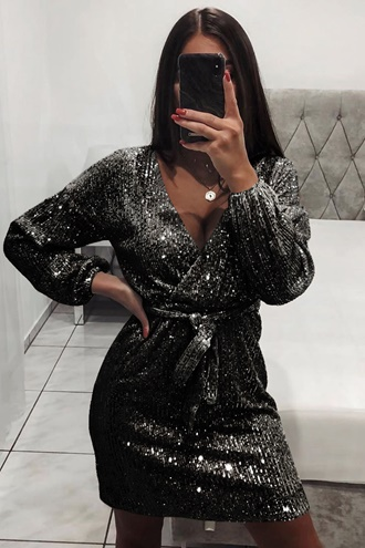 Exclusive black sequin dress - Evita