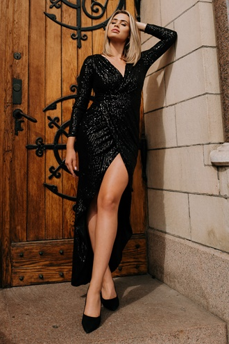 Exclusive sequin dress in black - Martini