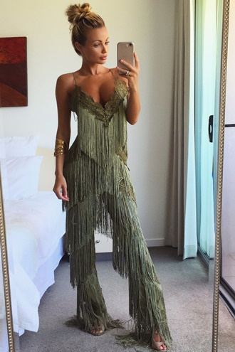 Fearless Fringe Pantsuit - Army Green