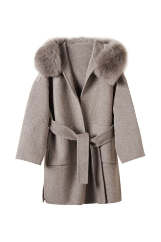 Grey virgin wool coat - Mango
