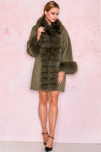 Army green cashmere coat - Melania