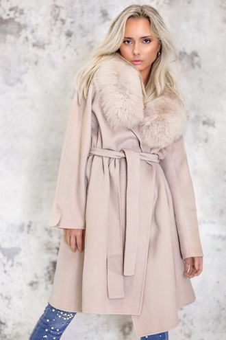 Long beige virgin wool coat - New York