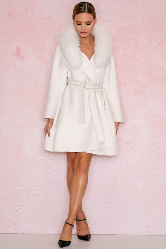Long cream white virgin wool coat - New York