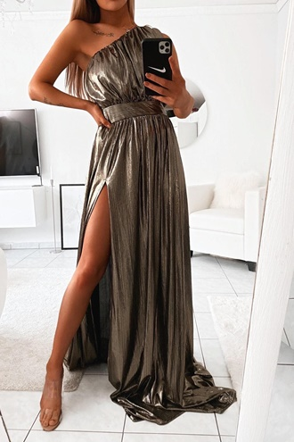 Langes Kleid mit Schlitzen - Metallic Queen