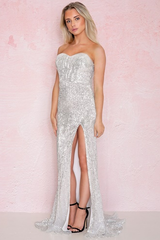 Maxi dress with slit in silver - Mischa