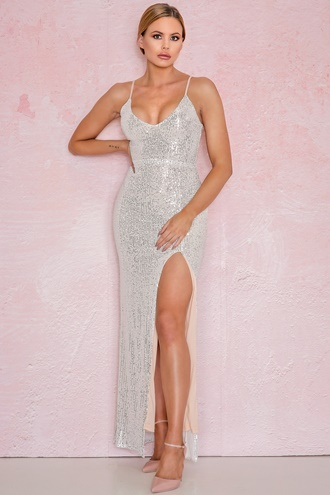 Maxi dress with slit in silver - Violetta