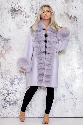 Purple cashmere coat - Melania