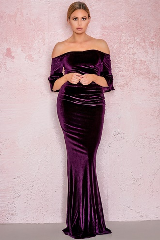 Purple maxi dress in velvet - Evening