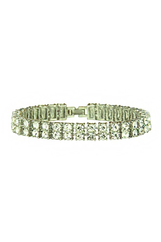Blingande armband - Double Tennis Silver