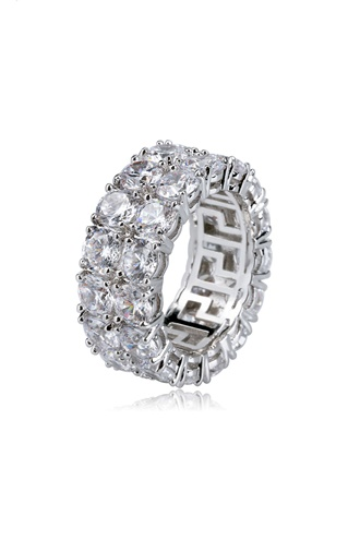Blingande ring - Double Row Eternity Ring White Gold