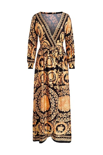 Baroque print maxi dress/cardigan - Inez