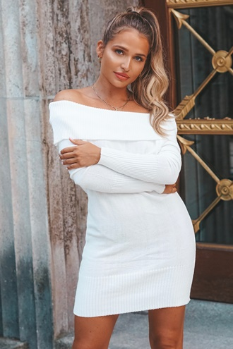 Off-Shoulder Dress - White
