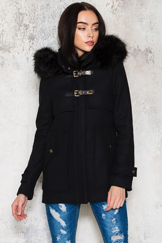 Black coat with faux fur - Widow