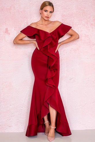 Red maxi dress with ruffles - Carol