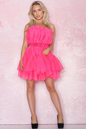 Pink dress in tulle - Daphnie