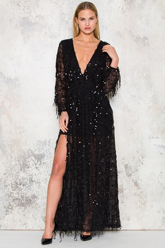 Star Maxi Dress - Black