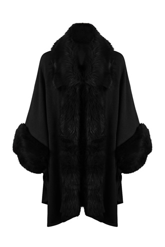 Black fake fur poncho - Dilara