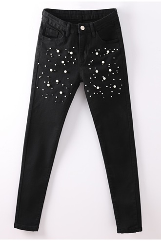 White Pearl Jeans - Black