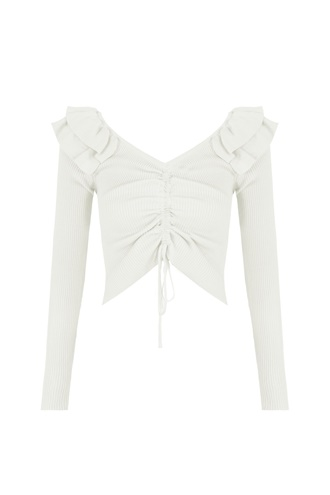 White Ruched Top - Bebe