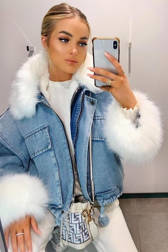 Blue denim jacket with faux fur - Kayla