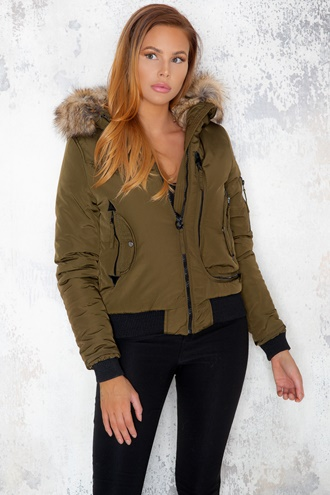 Green bomber jacket with faux fur - Zoe