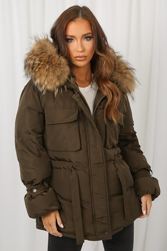 Green padded jacket with fur collar - Jerusalema