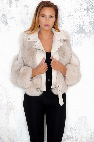 Hanna Leather/Fur Biker Jacket - Gray/Beige