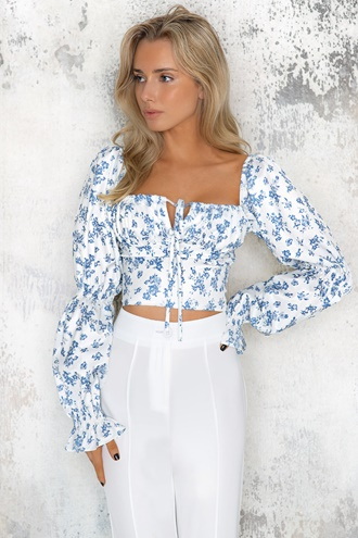 Ines Top - Blue/White