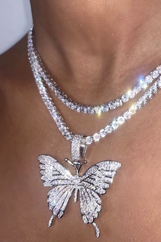 Single Butterfly Bling Necklace